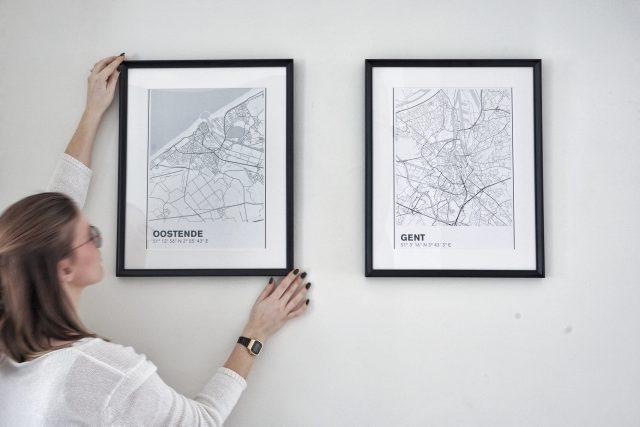 Minimalistisch stratenplan poster Gent en Oostende