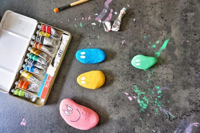 DIY barbapapa stenen schilderen
